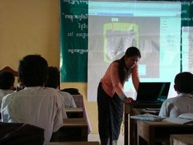 Students using PhET simulations in Cambodia. Image courtesy of David Dionys